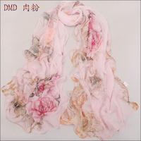 Long chiffon Silk Scarf/1PC 50*160cm New Fresh Style Summer Peony print woman decorative scarf/WJ-285