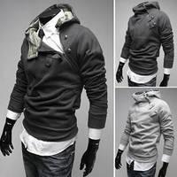 Free Shipping 2014 NEW Hot High Collar Men's Hooded Jackets Fashion Casual Male Long Sleeve Button Collar Sweatshirt