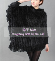 BG10888 Genuine Rabbit Fur Poncho with Hood Wholesale Retail Spring Lady poncho