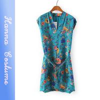 New arrival 2014 summer sexy flower printed slim dresses women clothes short sleeve chiffon dress for woman vestido