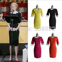 New Arrival Women Fashion 3/4 Sleeve Pinup Rockabilly Colorblock Bodycon Office Lady Sheath Dress Knee-Length Pencil Dress S-XXL