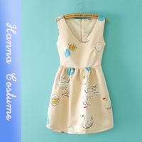 2014 summer swan printed slim cute dresses women clothes new arrival sleeveless v-neck lovely dress for woman vestido
