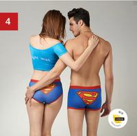(1 set = 2pcs) Superman Design Cotton Lovers Underwear & Ladies' underwear + Men's Boxers