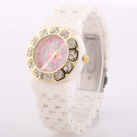 Hot- Women Love Rhinestone Dial Quartz Watch Women Ceramic Watch Free Shipping