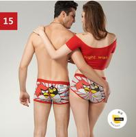 (1 set = 2pcs) Free shipping Cartoon Seamless Lovers Underwear & Ladies' underwear + Men's Boxer Shorts