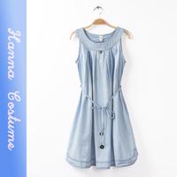 2014 summer light blue cute denim dresses women clothes new arrival sleeveless o-neck fashion dress for woman vestido