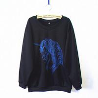 New Fashion 2014 Women/Men animal unicorn  Pullovers printed horse  sweatshirts print sweaters Hoodies top