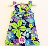 Momo- Wholesale multicolor Flower print dress, lotus leaf collar girls dresses, 5pcs/lot free shipping