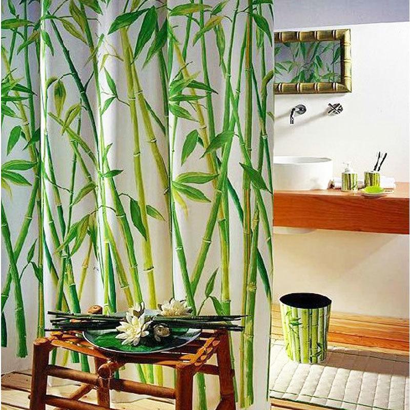 Green Bamboo Natural Landscape Design Bathroom Shower Curtain Fabric 12 Hooks #56683(China (Mainland))