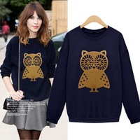 High Quailty Womens Plus Size Fashions Sweatshirts Long Sleeve Owl Thicken Shirt Casual All-Match Shirt Autumn And Winter 101