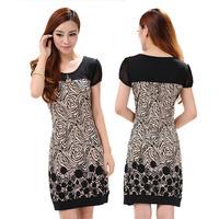 Elegant Women's Dresses Floral Print Pattern Women Casual Straight Dresses Empire Regular Short Sleeve Plus Size XXL XXXL