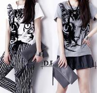 2014 summer cat short design top women's t-shirt basic shirt female short-sleeve plus size clothing