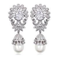2014 Classic Design Women Luxury Synthetic Shell AAA Quality Cubic Zirconia Earrings Allergy Free Platinum Plated Big Earrings