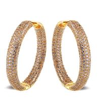 2014 New All Seasons Women Deluxe Round Hoop Earrings Cubic Zircon Cadmium Free Bridal Wedding Fashion Brass Earrings No Lead