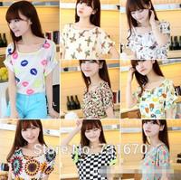 The New 2014 Summer Short-sleeved Printed T-shirt Bat Loose T-shirt Chiffon Shirt TX005