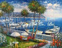 handmade oil painting on canvas impressional  seascape mediterranean sea art painting  MED1019 50x60cm