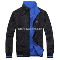 Big size L-5XL wholesale 2014 spring new men's sports jacket men Brand Double-sided wear waterproof & outerwear