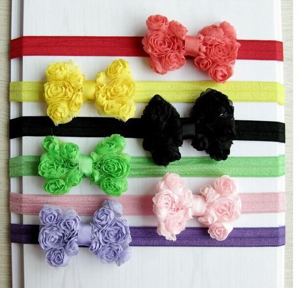 100pc/lot hot!! new 2015 children accessories 12 colors High quality baby girls bow stretch elastic headband kids headflower(China (Mainland))