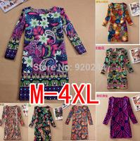 2014 casual dress hot temperament national wind retro print long-sleeved dress plus size vestidos women dress M- 4XL