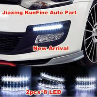 Free shipping! NEW ! 2PCS Universal Car Light Super White 8 LED Daytime Running Light Auto Lamp DRL  KF11609