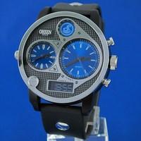 Free Shipping OHSEN Digital+Analog Multi-Function Quartz Watch Day/Date/Alarm/Stop Men's Sport Watch AD2806-3 Blue