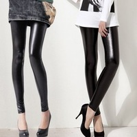 K010 leggings woman faux leather pants Korean black leather pants women skinny pants free shipping