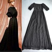 High Quality 2014 Runway Maxi Dress Black Small Dots Embroidery V-back Long Dress Floor Length 160cm 140714L03