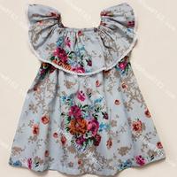 Momo - 2014 Wholesale Big brand lotus leaf collar Kid dresses 2-7T, Retro Flower  print dress, 5pcs/lot free shipping