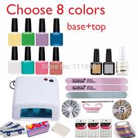 Free Shipping Nail kit Art DIY Full Set Led Soak Off Uv Gel Polish Manicure Topcoat+basecoat +4color uv gel 36W Lamp Kit Set 002