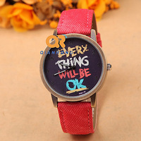 2014 new Fashion style Original design Fabric band Men women vinatge quartz with cartoon watch clock F08-F051-10