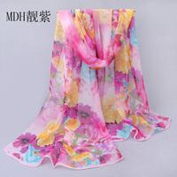 Long Chiffon Silk Scarf/1PC 50*160cm Floral Design Queen Flower Peony Print woman Favorite scarf/WJ-289