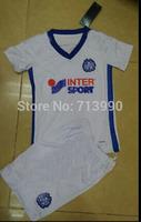 kids children Marseilles home kits 2014-15 top embroidery logo children Marseilles home white soccer jerseys for children