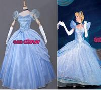 Hot Sale! Princess Cinderella dress Movie cosplay costume dress custom made Fairy Tale fancy dress for christmas Free Shipping