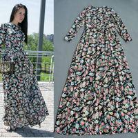 Brand Design 2014 Runway Maxi Dress Long Sleeve Floral Pinted Silk  Long Dress Floor Length 155cm 140714L04
