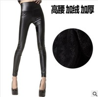 Free shipping high elastic pants high waist leggings thickened European style faux leather legging winter pants warm legging