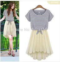 2014 women Summer New Style 2 Pieces Set Striped Short Sleeve O-Neck T-Shirt And Pleated Strap Dovetail Chiffon Dress 2 Color