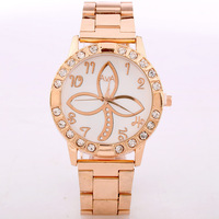 Hot Sale- 1 Color Chrysanthemum Design Fashion Women Rose Gold Bracelet Watch Quartz Quan Steel Watches