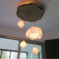 DIY art resin lotus lamp new Chinese living room corridor restaurant double staircase Chandelier  free shopping