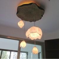 DIY art resin lotus lamp new Chinese living room corridor restaurant double staircase Chandelier  free shopping