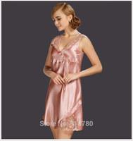 100% mulberry silk pajamas solid dye silk dress sleeveless dress free shipping