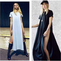 2014 HOT SELLING WHITE/BLACK 3 COLORS POP OF JUNK GYPSY TEE LONG TSHIRT OPEN ON THE SIDES CATTON LONG CASUAL GIRL DRESS