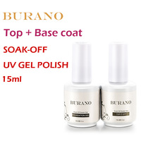 2pcs/lot UV nail Soak Off Uv Gel Polish Top coat gel+basecoat gel nail kit 15ml 0.5oz