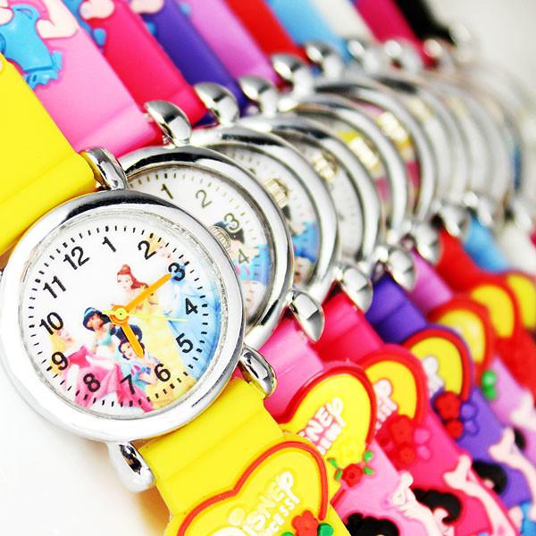 Hot 2013 10pcs New Free Delivery boys / girls Fashion Cute Princess 3D Cartoon mini children Christmas gift quartz watch(China (Mainland))
