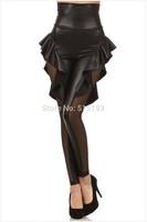 hot sale black faux leather high waist ruffled leggings mesh transparent leggings for women Sexy stretch Jeggings tregging
