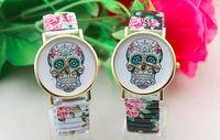 Freeshipping 1pcs/lot promotion skull face design flower printed elastic band geneva skull watches,quartz movement without logo