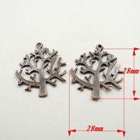 35PCS Antique Style Copper Tone Tree Charms Pendants 28*28*2MM 31803  31455