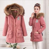 2014 Autumn Winter Coat Women Jackets Women's Long  Hooded Warm Cotton Coat Fur Collar Winter Jacket Women Parkas AS1273