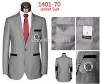 New Luxury 2014 Men Formal Dress Suit Jacket One Button Plaid Coat Plus Size Wool Business Jacket for Men