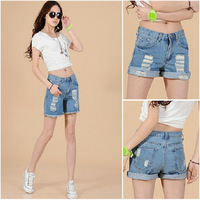 Hot sale women jeans 2014 fashion denim shorts hole trend 2 wears women short jeans female girls Personalized new trousers 1L052