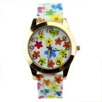 Free Shipping !1PC Exquisite Geneva Silicone Printed Flower Watch Women Girls Causal Quartz Watches